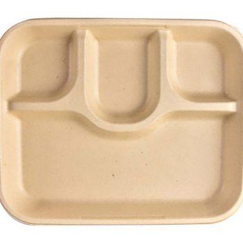 Chuk Bagasse 4 Compartment Rectangular Tray