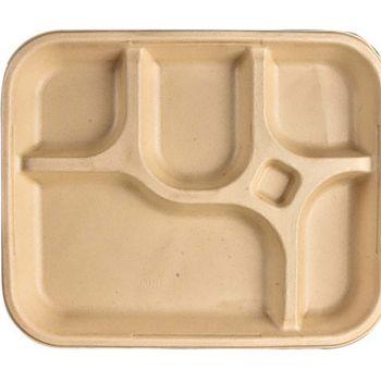 Chuk Bagasse 5 Compartment Rectangular Tray