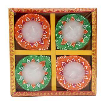 Diwali 4 Pack Diya Lights With Candle