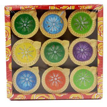 Diwali 9 Pack Decorated Diyas